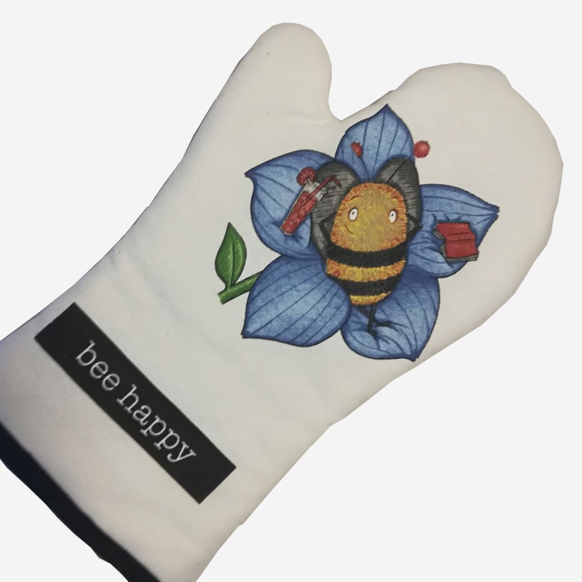 White Bee Happy Oven Mitt